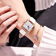 Đồng hồ thời trang nữ Vsl1, mặt vuông dây da, có lịch ngày, chạy 3 kim giờ phút giây thumbnail