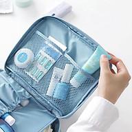 Túi đựng mỹ phẩm xanh họa tiết hoa thumbnail