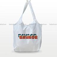 Túi vải canvas đeo vai tiện ích đi học, đi du lịch in chữ- Savage thumbnail