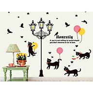 decal dán tường cột đèn và đàn mèo đen thumbnail
