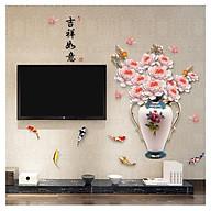 Tranh decal 3D dán tường Bình hoa mẫu đơn thumbnail