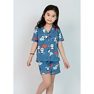 Pijama bé gái quần đùi áo cộc màu xanh hoạ tiết gấu trúc thumbnail