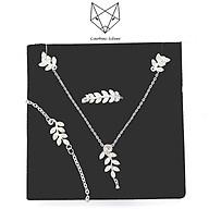 Bộ Trang Sức Bạc S99 CaoBac Silver Hình Lá Cao Cấp, Phong Cách (Dây Chuyền, Khuyên Tai, Nhẫn Bạc) thumbnail