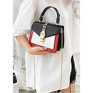 Túi xách tay đeo chéo nữ thời trang phối 2 màu T56 Form túi hộp size 20x17x10cm phụ kiện thời trang nữ - T56-1 thumbnail