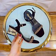 Giày sandal cao gót nữ đế vuông, giày cao gót nữ quai mãnh gót vàng hỡ mũi, gót cao 5p hàng chuẩn size thumbnail