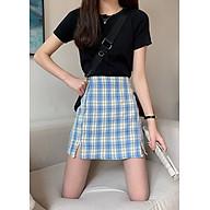 Chân váy chữ A kẻ caro có quần trong, xẻ vạt thoải mái vận động thumbnail