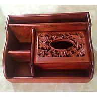 Hộp đựng khăn giấy để bàn sang trọng gỗ hương trạm khắc long phụng thumbnail