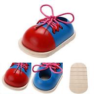 Đồ chơi tập xỏ dây giày gỗ cho bé, đồ chơi thông minh thumbnail