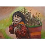 Tranh sơn dầu sáng tác Nhặt củi thumbnail