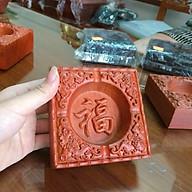 Gạt tàn thuốc gỗ hương đỏ nguyên khối mặt chạm chữ phong thủy - ảnh thật thumbnail