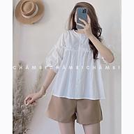 Set kiểu Hàn Quốc S.049, Set áo babydoll cổ tàu bèo ngực trắng cùng quần short nâu thumbnail