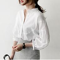 Áo sơ mi nữ cổ trụ tay bồng vai bồng ArcticHunter, chất vải thô mềm mát, thời trang thương hiệu chính hãng thumbnail