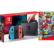 COMBO Máy chơi Game Nintendo Switch With Neon Blue Red Joy-Con Tặng Kèm Thẻ Game Mario Odyssey - Hàng Nhập Khẩu thumbnail