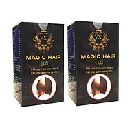 [Combo 2 hộp] Mọc tóc nhanh chống hói đầu, ngăn rụng tóc sau sinh, ngăn tóc bạc sớm, nuôi dưỡng tóc chắc khỏe, suôn mượt và bóng đẹp, giảm khô, xơ, gãy rụng tóc - Magic Hair Gold thumbnail