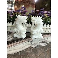 Cặp Cá Chép hóa Rồng phong thủy đá cẩm thạch trắng - Cao 15 cm thumbnail