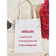 Túi vải canvas chữ attitude vải trằng dày thumbnail