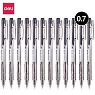 Bút bi dầu Deli - 0.7mm - đầu bấm - mực Xanh Đen - 12 chiếc hộp - EQ00120 EQ00130 thumbnail