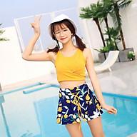 Bộ đồ bơi nữ 3 mảnh màu vàng thumbnail