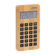 Desktop Bamboo Calculator Counter 12 Digits Display Solar Energy & Button Battery Dual Powered Eco-friendly Calculating thumbnail