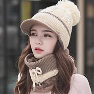 Nón len nữ kèm khăn choàng cổ thời trang Hàn Quốc dn19121650 thumbnail