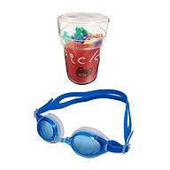 Combo Kính bơi trẻ em Goggle (từ 6-15 tuổi) màu xanh + Hộp 25 dĩa ăn trái cây hình gấu cho bé - Nội địa Nhật Bản thumbnail