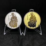Cặp Đồng Xu Thần Tài Mạ Vàng Bạc - Tặng kèm hộp đựng xu bằng nhung - Tăng Tài Lộc cho gia chủ với mặt trước là hình Ông Thần Tài - Mặt sau là Chữ tài được khắc tinh xảo - với đường kính 40mm và độ dày 3mm - Quà tặng dịp tết Canh Tý - TMT Collection thumbnail