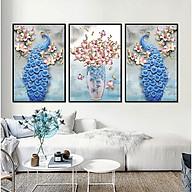 Decal dán tường trang trí phòng ngủ bộ 3 tranh đôi chim công bên hoa Mộc Lan Tipo_0226 thumbnail