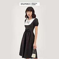 Đầm xòe nữ thiết kế phối yếm thêu GUMAC DB395 thumbnail