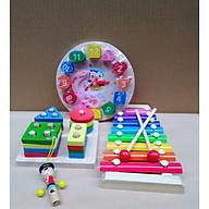 Combo 4 món phát triển trí tuệ cho bé (đồng hồ gỗ, đàn gỗ, còi gỗ, trụ gỗ thả hình học) thumbnail
