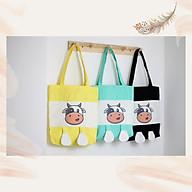 Túi tote vải canvas phom đứng phối hình in con bò 2 chân thời trang COVI nhiều màu sắc T20 thumbnail