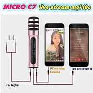 Bộ Micro Thu Âm C7 chống ồn, live stream, Hát Karaoke quay video, ghi âm, Vlog, Chơi game, trò chuyện qua Zoom ,smartphone, máy tính bảng, máy tính để bàn, laptop, Tai Nghe Siêu Bass Có Mic Đàm Thoại, Giá đỡ điện thoại để bàn đa năng tiện dụng xoay 270 độ thumbnail