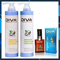 Trọn Bộ Gội - Xả Diva Cosmetics 750ML Siêu Tiết Kiệm Siêu Mềm Mượt - Tặng Tinh dầu Diva Cosmetics 50ml thumbnail