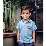 Áo phông bé trai có cổ màu xanh Crown Space Fashion TShirt CKBS2101009.B vải cotton thoáng mát size 4-9 cho bé 4-10 Tuổi thumbnail