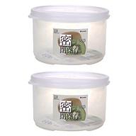 Combo 2 hộp nhựa đựng thực phẩm 830ml loại tròn có nắp nội địa Nhật Bản thumbnail