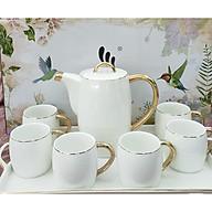 Bộ ấm chén kèm khay sứ camelia pha trà cà phê màu trắng - ANTH467 thumbnail