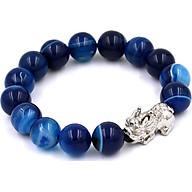 Vòng đeo tay Tỳ hưu inox trắng - Chuỗi đeo tay đá thạch anh xanh sọc 12 ly VTAXDSTHT12 thumbnail