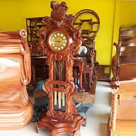 Đồng hồ đứng băng gỗ hương quả lắc hình con nghê thumbnail