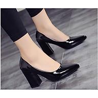 Giày cao gót nữ da bóng đế vuông 7cm dáng basic hàng VNXK da mềm êm chân -HC01 thumbnail