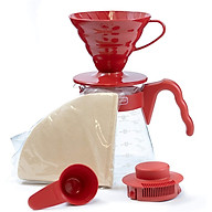 BỘ PHA CÀ PHÊ Hairo V60 màu đỏ SET VCSD-02 RED 1-4 CUPS thumbnail