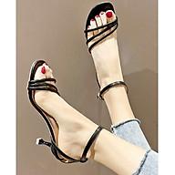 Giày xăng đan nữ quai chéo trước gót nhỏ 7cm quai hậu cách điệu da PU mềm C04 thumbnail