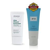 Combo Kem chống nắng chiết xuất lô hội hữu cơ Aromatica Aloe Mineral Sunscreen SPF 50 PA ++++50gr Và Sữa rửa mặt ARA Miracle Moisture & Creamy Cleansing Foam (100g) thumbnail
