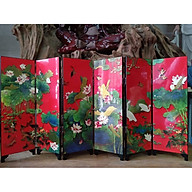 BÌNH PHONG MINI hoa sen KIỂU CỔ BẰNG SƠN MÀI 6 CÁNH trang trí bàn trà , tiểu cảnh thumbnail
