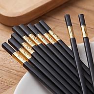 Bộ 10 đôi đũa hợp kim đầu bọc vàng cao cấp - không mốc - đầu gấp nhám bám cực tốt thumbnail