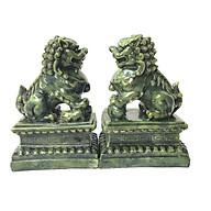 Cặp tượng đá trang trí kỳ lân - màu xanh lục bích - đá composite thumbnail