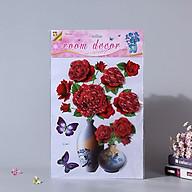 Bình hoa 3D trang trí phòng khách, tủ lạnh- Bình hoa hồng đỏ thumbnail