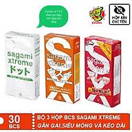 BỘ 3 Hộp Bao cao su Sagami Xtreme White , Loveme Orange & Feel Longtime Có Gân gai, siêu mỏng và kéo dài [Chính Hãng] thumbnail