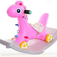 Ngựa bập bênh kiêm xe chòi chân cho bé (có nhạc + bánh xe + đệm lót) thumbnail