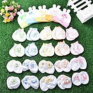 Combo 5 nón , 10 bao tay, 10 bao chân cho bé 0-6th (5 nón tai thỏ in hình,5 đôi bao tay,5 đôi bao chân dún trắng in hình) thumbnail