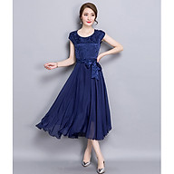 Slim-fit silk A-line pleated skirt fashionable and elegant plus size dress thumbnail