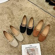 Giày búp bê da lộn nơ dây mảnh cực xinh G007 thumbnail